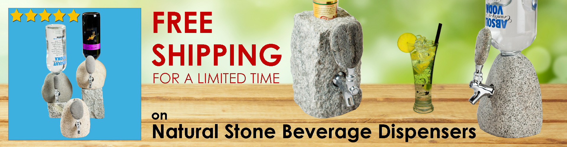 FREE Shipping for a Limited Time on Natural Stone Beverage Dispensers - Handcrafted, Made in USA