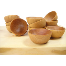 "Mini Wooden ""Pinch"" Bowls, Condiment Cups - Set of 6"