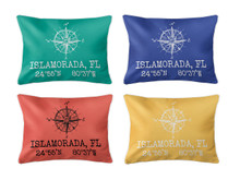 Latitude Longitude Pillow Lumbar, Custom Coordinates, 14 Colors