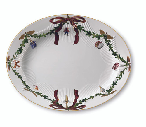 Star Fluted Christmas Serving Platter - Oval, 14.25""