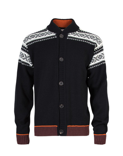 Dale of Norway Cortina Bomber Cardigan - Black/Off White/Bitter Chocolate, 80261-F