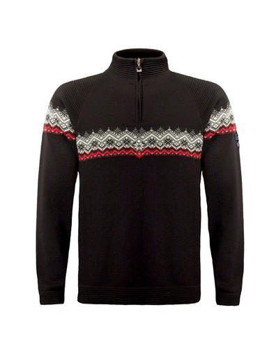 Mens Dale of Norway Calgary Pullover - Black/Raspberry/Off White, 91791-F