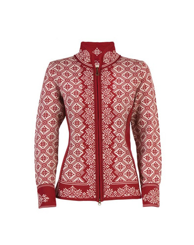 Ladies Dale of Norway Christiania Cardigan - Red Rose/Off White, 81951-B