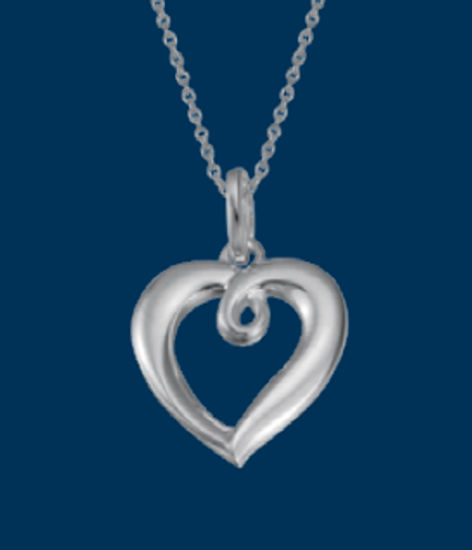 Danish Silversmiths Looped Heart Necklace
