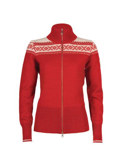 Ladies Dale of Norway Hemsedal Cardigan - Raspberry/Off White, 82261-B