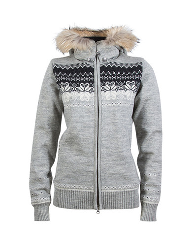 Ladies Dale of Norway Floyen Windstopper Jacket - Light Charcoal/Off White/Dark Charcoal, 82841-E
