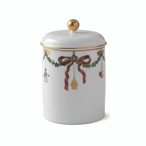 Star Fluted Christmas Jar with Lid, 6.7""