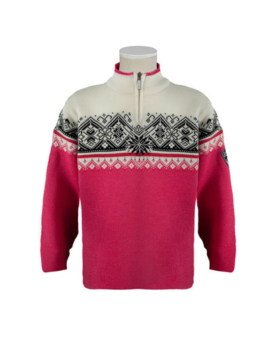 Childrens Dale of Norway St. Moritz Pullover - Allium/Raspberry/Black/Off White, 9150-I
