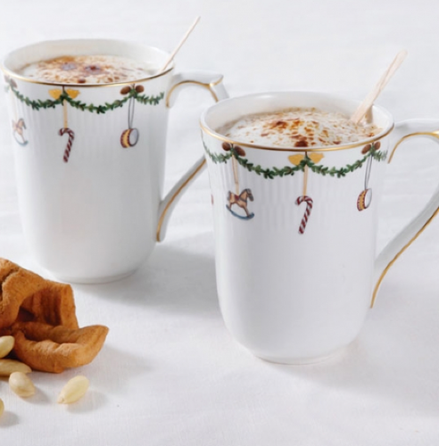 Star Fluted Christmas Mugs- Set of Two