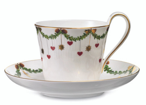 Star Fluted Christmas High Handled Cup & Saucer