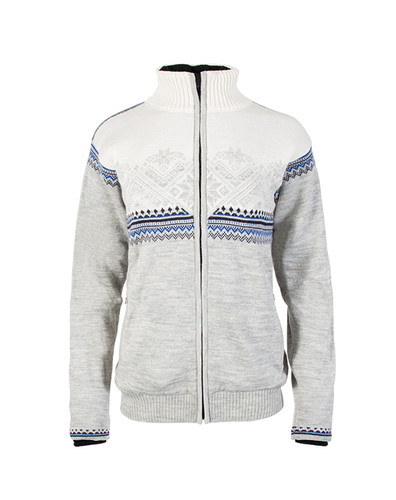Ladies Dale of Norway Glittertind Windstopper Jacket in Light Charcoal/Navy/Cobalt/Off White, 83081-E
