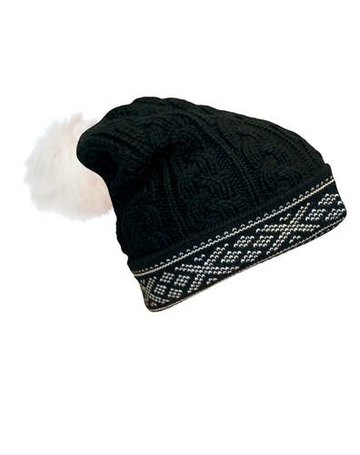 Ladies Dale of Norway Kapp Flora Hat - Black/Off White, 40016-F