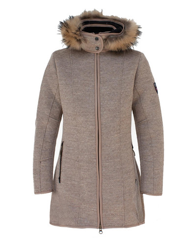 Ladies Dale of Norway Colorado Knitshell Long Coat - Sand, 82671-P