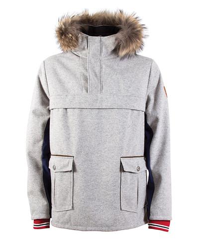 Dale of Norway Fjellanorakk Knitshell Jacket, Mens - Light Charcoal/Navy Softshell, 82921-E