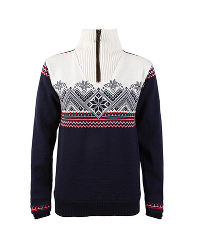 Ladies Dale of Norway Glittertind Windstopper Sweater,  Navy/Raspberry/Light Charcoal/Off White, 92981-C