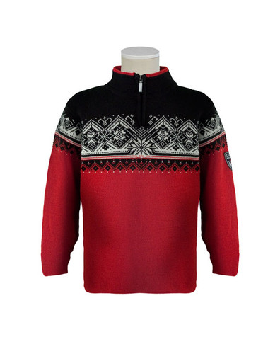 Childrens Dale of Norway St. Moritz Pullover - Raspberry/Black/Off White, 9150-B