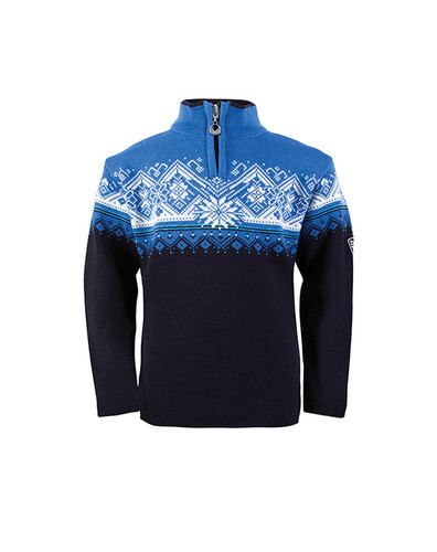 Childrens Dale of Norway St. Moritz Pullover - Navy/Cobalt/Sochi Blue/Off White, 9150-C