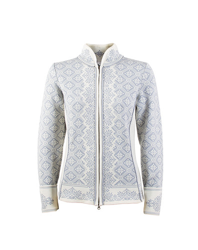 Ladies Dale of Norway Christiania Cardigan - Metal Gray/Off White, 81951-A