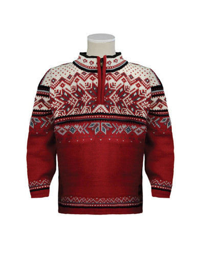 Childrens Dale of Norway Vail Pullover-Red Rose/Midnight Navy/Off White/Steel Silver, 9034-B