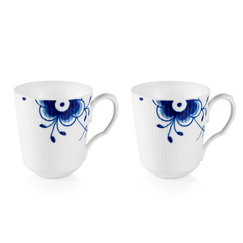 Blue Fluted Mega - Mug - Set of 2 - 12.25 oz