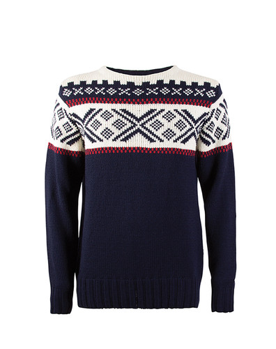 Mens Dale of Norway Voss Sweater - Navy/Raspberry/Off White, 92921-C