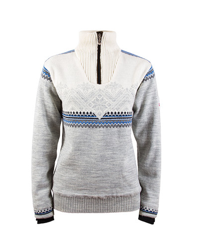 Ladies Dale of Norway Glittertind Windstopper Sweater, Light Charcoal/Navy/Cobalt/Off White, 92981-E
