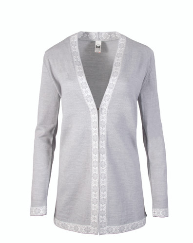 Ladies Dale of Norway Alexandra Cardigan - Light Grey/Off White, 83061-E