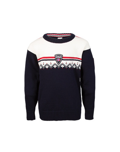 Childrens Dale of Norway Lahti Sweater - Navy/Off White/Raspberry, 93311-C