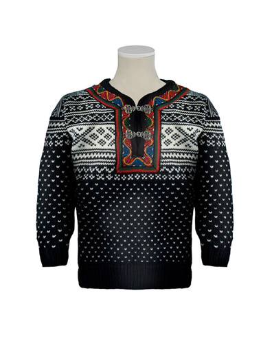 Childrens Dale of Norway Setesdal Pullover - Black/Off White, 9038-F