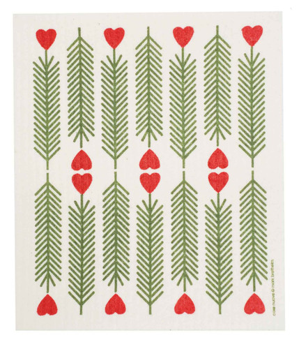 Swedish Christmas Dishcloth - Pine - Hearts