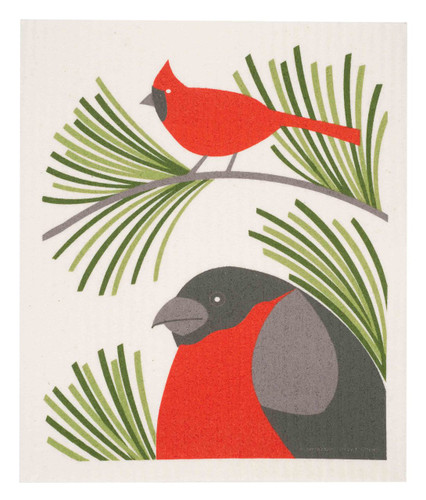 Swedish Christmas Dishcloth - Cardinal