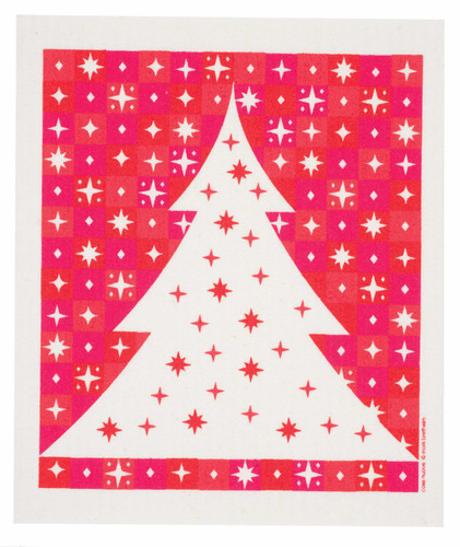 Swedish Christmas Dishcloth - Starry Tree - Red