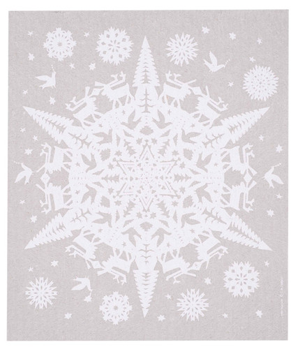 Swedish Christmas Dishcloth - Papercut Snowflake - Gray