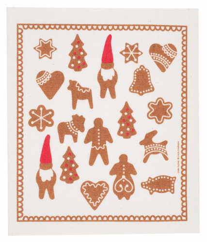 Swedish Christmas Dishcloth - Gingerbread