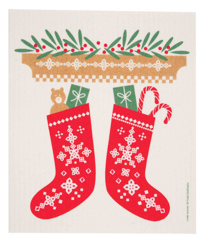 Swedish Christmas Dishcloth - Stockings