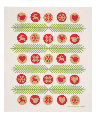 Swedish Christmas Dishcloth - Ornaments - Gold