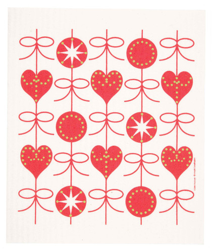 Swedish Christmas Dishcloth - Hearts and Bows