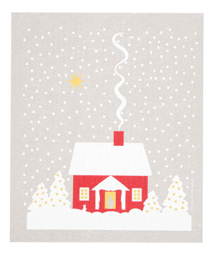 Swedish Christmas Dishcloth - Snowy House