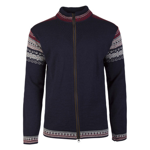 Mens Dale of Norway Bergen Cardigan - Navy/Light Charcoal/Red Rose, 83171-C