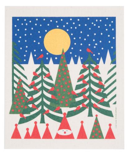 Swedish Christmas Dishcloth - Birds in Pines