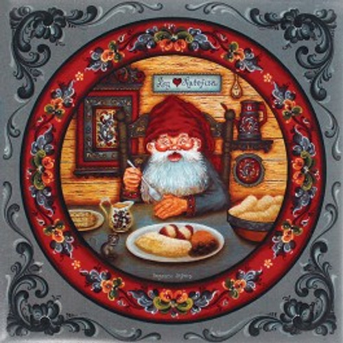 "Suzanne Toftey tile- ""Nisse Eating Lutefisk."""