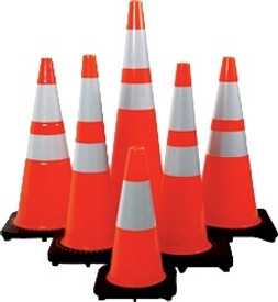 """28"""" Orange Traffic Cones with two reflective wraps"""