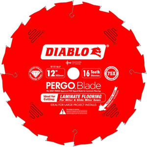 "12"" x 16-Tooth Polycrystalline Diamond (PCD) Tipped Ultimate Flooring Blade"