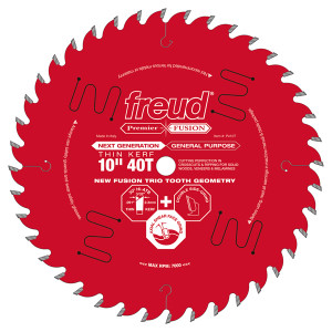 """Premier Fusion Thin Kerf 10"""" 40 Tooth Saw Blade with 5/8"""" Arbor"""