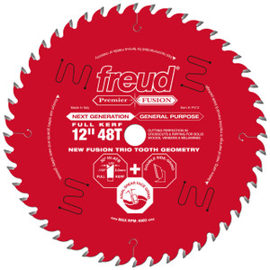 "Premier Fusion 12"" 48 Tooth Saw Blade with 1"" Arbor"