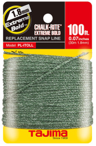100' Chalk-Rite Snap Line with Extreme Bold Line, White, 1.8 mm