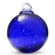 Cobalt Blue 4 Inch Crackle Kugel