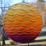 "Water Glass Sun Disk  ""Gentle Wave Sunset Colors """
