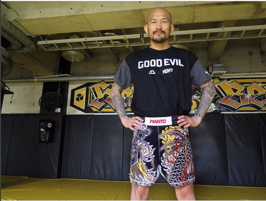 "MMA Star Kotetsu ""No Face"" Boku wearing the new Dragon LTD Edition Shorts at Krazy Bee HQ in Japan"