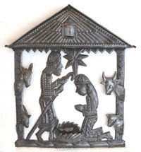 "Haiti Metal Nativity, Away in a Manger 12"" x 14"""